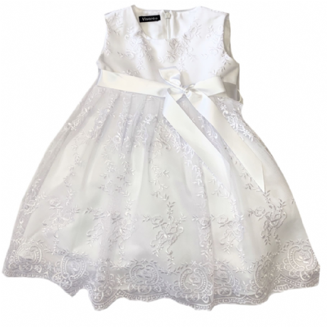 Girls White Floral Lace Dress &  Satin Ribbon Sash